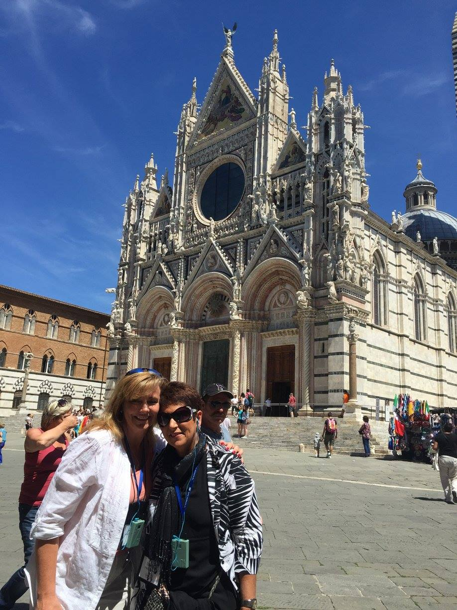 Kelly and Teresa on the WINE & SHRINE Pilgrimage they lead each year in Italy (All Rights Reserved, 2018)